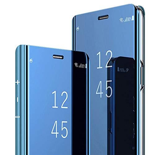 Hülle Kompatibel mit Galaxy S10 Galaxy S10 Plus Handyhülle Spiegeln PU Leder Flip Hülle Ständer Clear View Spiegel Überzug PC Schutzhülle mit Hart Standfunktion (Galaxy S10, Blau)