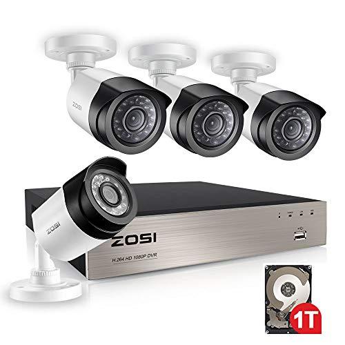 ZOSI 8CH 1080P Full HD DVR Video Überwachungssystem 4 Außen 1080P Überwachungskamera Set mit 1TB Festplatte, HDMI VGA Output, 20M IR Nachtsicht