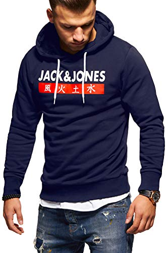 JACK & JONES Herren Hoodie Kapuzenpullover Sweatshirt Pullover Streetwear 4 Elements (Medium, Total Eclipse)