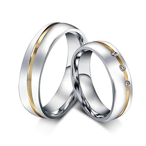 ANAZOZ Schmuck Paar Eheringe aus Edelstahl mit Zirkonia Verlobungsringe Partnerringe Männerring Gold Silber Größe 62 (19.7) (Preis nur für 1)