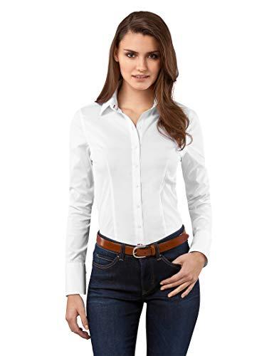 Vincenzo Boretti Damen Bluse besonders tailliert mit Stretch Langarm Hemdbluse elegant festlich Kent-Kragen auch für Business und unter Pullover weiß 40