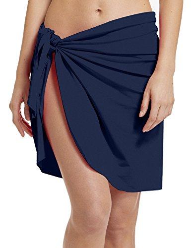 ChinFun Damen Strand-Vertuschung Luxus NylonSpandex Sarong Kleid Pareo Knielänge Badeanzug Schwimmen Waist-Verpackung Einheitsgröße Nylon Knielänge-Marine