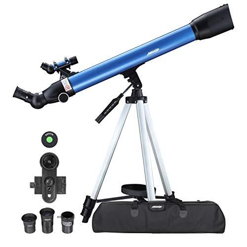 Aomekie Teleskop Astronomie, 234X Refraktor Teleskop für Kinder Einsteiger mit 10X Smartphone Adapter Ausziehbares Stativ Tasche Mondfilter und Aufrechtes Sucherfernrohr