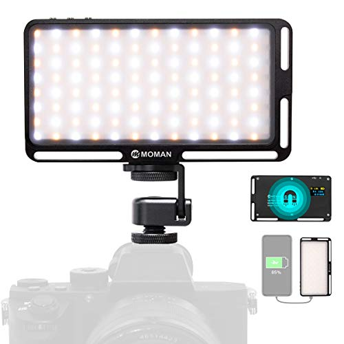 Moman Videoleuchte Kamera 180 LED, 3000K-6500K Taschengröße Dimmbare Videolicht, CRI96+ Panel Videolampe Klein Mini mit Magnet, als Powerbank, Eingebaute Batterie Dauerlicht für DSLR Sony Canon Nikon