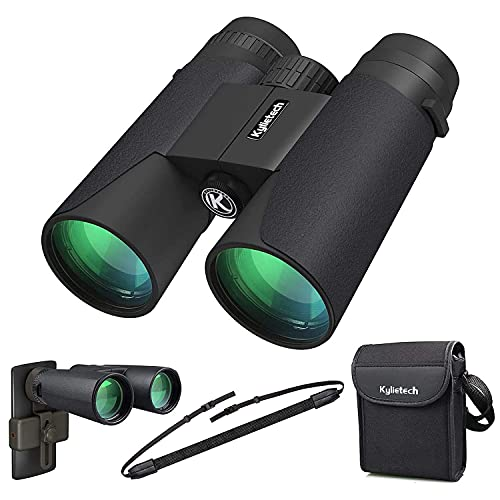 Kylietech Fernglas 12x42 HD Kompakte Ferngläser wasserdicht für Vogelbeobachtung, Wandern, Jagd, Sightseeing, FMC-Linse Feldstecher inkl. Tragetasche, Tragegurt und Smartphone-Adapter