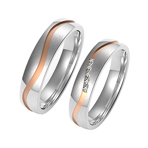 Amtier Paar-Ring Edelstahl-Ringe für Paar Eheringe Herrenring Damenringe 5mm mit Geschenkbox, Damen 074, 48 (15.3)