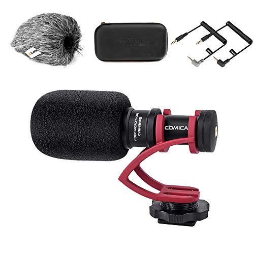 Kamera Mikrofon, Comica CVM-VM10II Richtmikrofon Cardioid Shotgun Video Camcorder Mikrofon für Canon, Nikon, Fuji, Sony, Panasonic, Olympus DSLR-Kameras, Smartphones (mit Wind Muff) (rot)