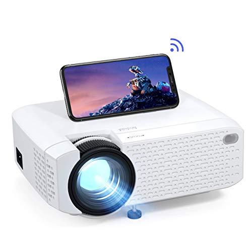 Beamer WiFi, Mini Wireless Beamer, tragbare Projektor LED-Heimkino-Unterstützung Full HD mit Fernbedienung, Kompatibel mit HDMI/USB/Android/iPhone/USB/Firestick/TV-Box