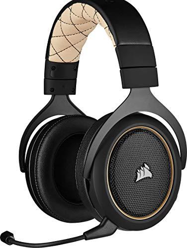 Corsair HS70 Pro Wireless Gaming Headset (7.1 Surround Sound, Ultraniedrige Latenz, 12 Meter Reichweite, Federleichtes Design, Abnehmbares Rauschunterdrückung-Mikrofon, für PC und PS4) gelb