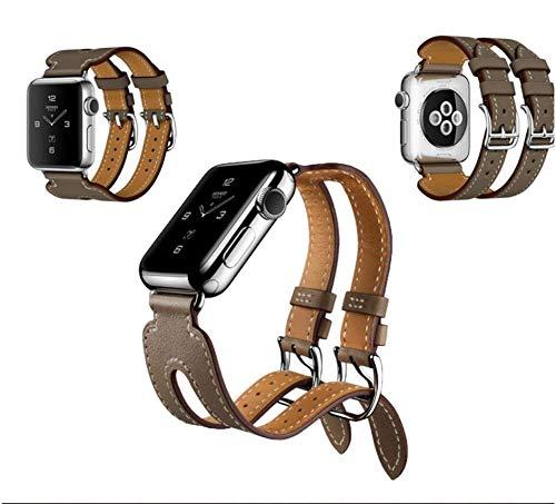 VCX Echtes Leder Doppelschnallen Manschettenband 38/40 42 / 44mm Armband Lederband Band Uhr (Band Color : Black, Band Width : 42MM 44MM)