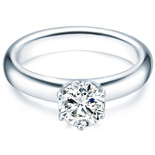 Tresor 1934 Damen-Ring/Verlobungsring/Solitärring Sterling Silber rhodiniert Zirkonia weiß 60451017