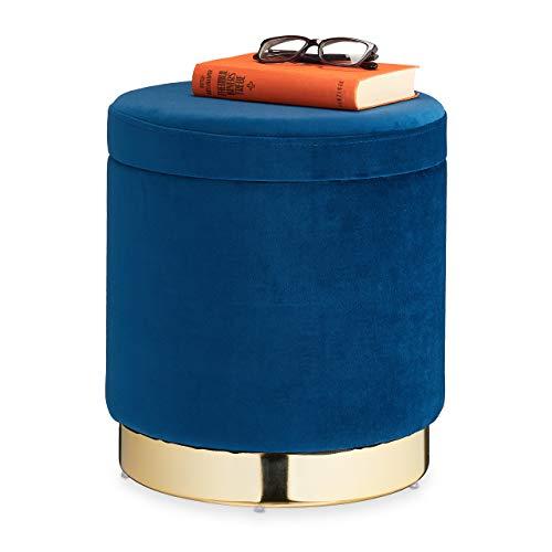 Relaxdays Samthocker mit Stauraum, rund, eleganter Polsterhocker, modern, Samt Sitzhocker, H x D 41,5 x 37 cm, blau/Gold