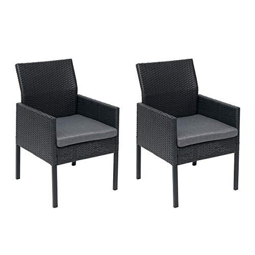 Mendler 2X Poly-Rattan Sessel HWC-G12, Gartenstuhl Korbsessel - schwarz, Kissen dunkelgrau, Standard-Version