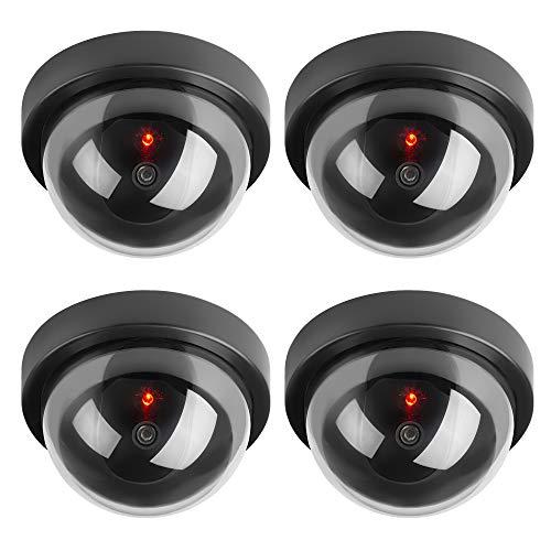 Hengu Runden Dummy Kamera CCTV Überwachung Kamera Sicherheitskamera mit Blinkender LED Licht - 4 Stücke (Schwarz)