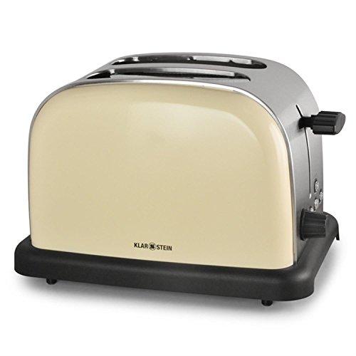 Klarstein BT-318 Toaster - 2-Scheiben-Toaster, Doppelschlitz-Toaster, 50er Retro Design, 1000 Watt, Auftau- / Aufwärm- / Bagel-Funktion, Edelstahl, 6-stufig einstellbarer Bräunungsgrad, creme