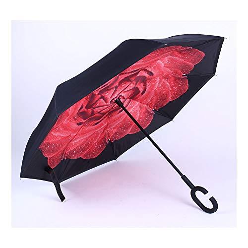 WLL Regenschirm, umgedreht/reversibel, Langer winddichter Regenschirm, doppelte Innen- und Außenselbstständigkeit, C-förmiger Griff und Tragetasche, ausgefallener Regenschirm,E