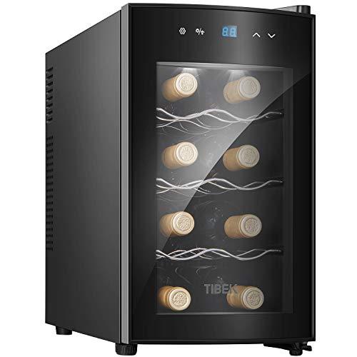 Weinkühlschrank Thermoelektrischer Getränkekühlschrank 25 Liter 8 Flaschen mit Soft-Touch-Bedienfeld, Glastür und LED-Beleuchtung, 3 herausnehmbarer Regale(Erhalten Sie innerhalb von 5 Tagen)