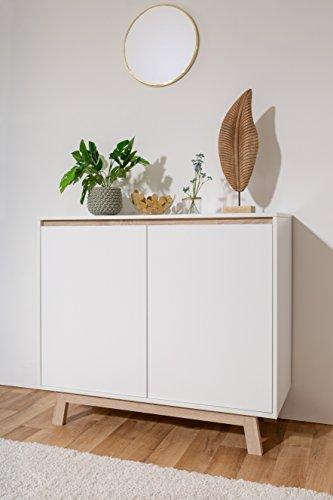 Inter Trade Corporation Kommode skandinavisch 2 türig | griffloses Design - Blende wechselbar weiß/Sonoma Eiche | 2 Türen, 1 Regalboden One Size