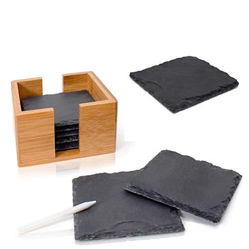 Amazy Schiefer Untersetzer Set (8 Stück) inkl. Kreidestift – Dekorative Glasuntersetzer aus 100% Natur Schieferplatten mit praktischem Halter aus edlem Bambus – Tolle Geschenkidee (eckig   10x10 cm)
