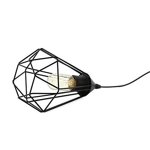 EGLO Tischlampe Tarbes, 1 flammige Vintage Tischleuchte im Retro Look, Nachttischlampe aus Stahl, Farbe: Schwarz, Fassung: E27, inkl. Schalter