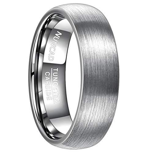 NUNCAD Ring Herren Silber 7 mm, Unisex Ring aus Wolfram mit polierter Oberschicht, Ehering_Partnerring_Men Schmuck Fashion, Größe 61