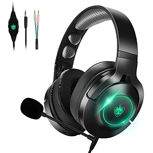 PHOINIKAS Gaming Headset für PC, PS4, PS5, Switch,90 ° Drehbar Earmuffs,7.1 Surround, Noise Cancelling Abnehmbares Mic with Sponse, LED Licht,16 Hours Kabellos Bluetooth kopfhörer Only für Musik