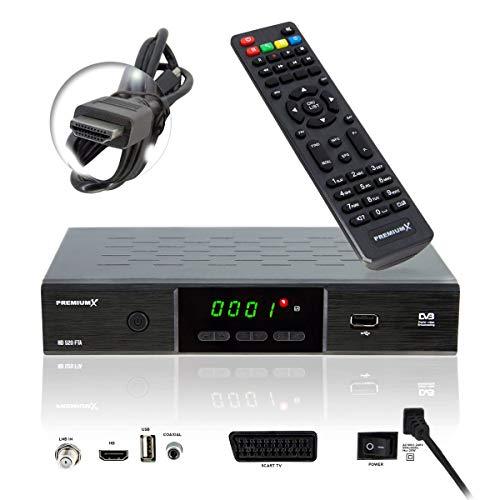 PremiumX HD 520 FTA Digital SAT TV-Receiver DVB-S2 FullHD HDTV Satelliten-Receiver HDMI SCART 2x USB Multimedia-Player, Deutsche Sender vorprogrammiert