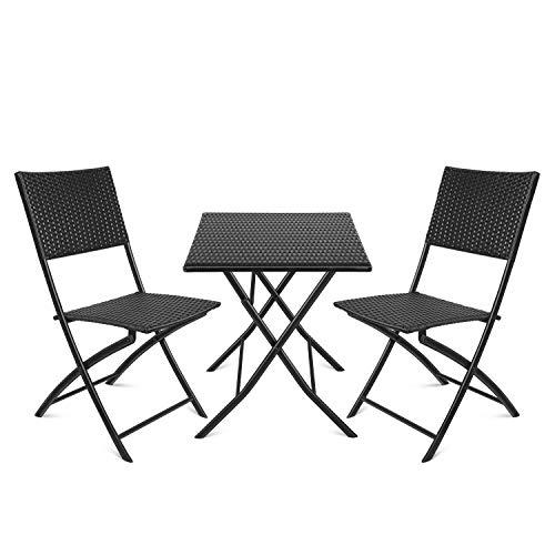 amzdeal Polyrattan Balkonset, Balkonmöbel Set 3-teilige, Bistroset, klappbarer Sitzgarnitur, Sitzgruppe Tisch und 2 Stühle, Gartenmöbel Set