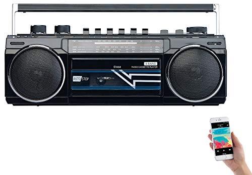 auvisio Retro Kassettenrecorder: Retro-Boombox mit Kassetten-Player, Radio, USB, SD & Bluetooth, 8 Watt (Radio Recorder)