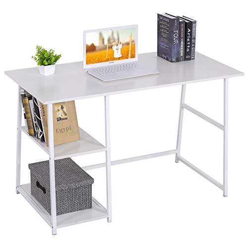 WOLTU Schreibtisch TSB33ws Computertisch Bürotisch Arbeitstisch PC Laptop Tisch, mit 2 Ablagen, aus MDF und Stahl, 120x60x76cm(BxTxH)