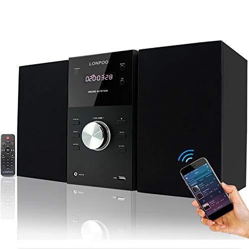 LONPOO Kompaktanlage Stereo Micro-HiFi-System mit CD Player, Bluetooth, UKW Radio, USB, AUX-in, Großes LED-Display und Knopf, Fernbedienung (Schwarz)