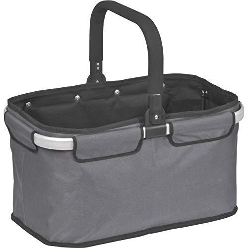 StillRich Industries | Einkaufskorb faltbar XL | aus Polyester und Aluminium | Volumen 32 Liter | nutzbar als Einkaufstasche oder als Picknickkorb (anthrazit)