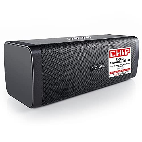 DOCKIN® D FINE Bluetooth Lautsprecher - 50 Watt Stereo HiFi Speaker für Indoor/Outdoor mit starkem Bass, tragbare Bluetooth-Soundbox Wireless mit integrierter Powerbank, wasserdichte Musikbox