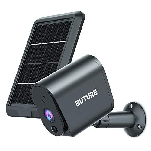 BuTure Akku Überwachungskamera Aussen mit Solarpanel 1080P Outdoor WLAN Kamera Bewegungsmelder Nachtsicht IP65 2-Wege-Audio Alexa Sd Cloud