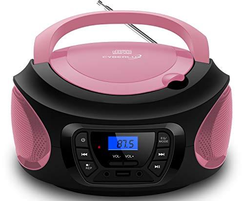 Tragbarer CD-Player     CD/CD-R   USB   FM Radio   AUX-In   Kopfhöreranschluss   Kinder Radio   Boombox   CD-Radio   Stereoanlage   Kompaktanlage (Pretty Pink)