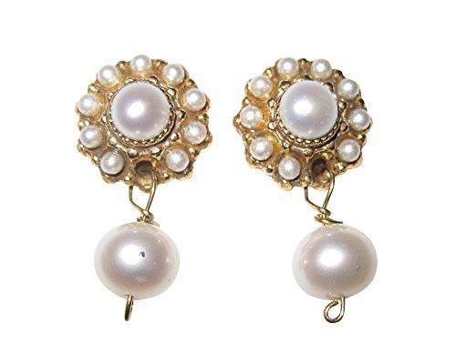 Perlen-Ohrstecker Ohrringe weiß verspielt kleine Süßwasser-Perlen echt Silber vergoldet Handarbeit Unikat Italien leicht Retro edel Mädchen klassisch