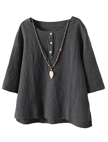 Vogstyle Damen Baumwoll Leinen Tunika T-Shirt Jacquard Oberseiten, Grau, XXL