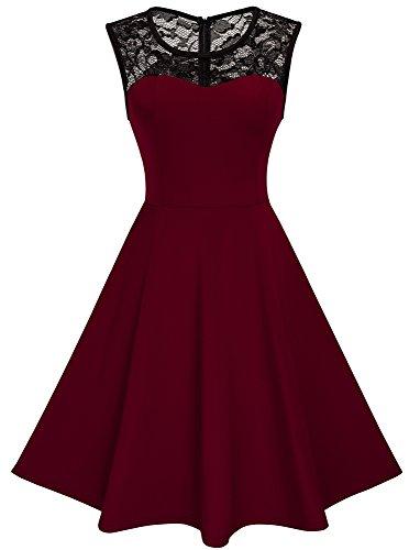 HOMEYEE Damen Elegant Spitze Rundhalsausschnitt Ärmel Mesh-A-Linie Kleid UKA008 (EU 38 (Herstellergroesse: M), Dunkelrot)