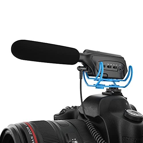 Moukey Kamera Mikrofon mit Monitor für Sony/Nikon/Canon Kamera/DV Camcorder, Externes Videomikrofon Shotgun-Mikrofon für Blogs und Live-Übertragungen, MCM-3