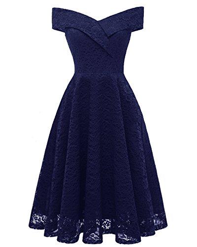 LA ORCHID Laorchid Mode Damen Spitze Abendkleider Brautjungfern Kleid Cocktail Party Ärmlos Navy M