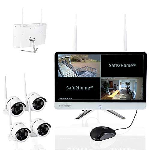 Safe2Home Videoüberwachung Funk mit Aufzeichnung Rekorder Festplatte Set deutsch 4X Full HD Cam Nachtsicht – Kamera Monitor Überwachungskamera kabellos innen außen Kameras