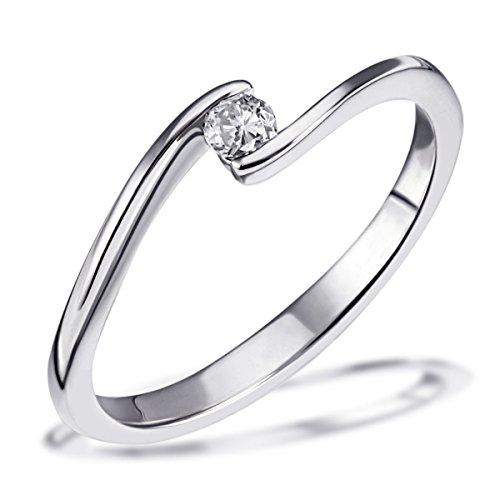 Goldmaid Damen-Ring Solitär Verlobungsring 585 Weißgold 1 Brillant 0,10 ct. Gr. 54
