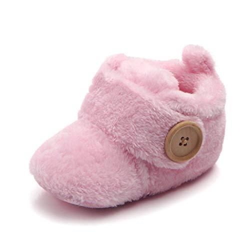 Babyschuhe für 0-18 Monate, Auxma Baby Jungen Mädchen Winterschuhe, Warme Schuhe Stiefel für Kleinkinder (6-12 Monate, Rosa)