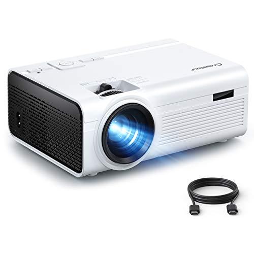 Beamer, Mini Video Crosstour Full HD Unterstützt Heimkino Projector LED Handy Tragbar Projektor Kompatibel mit Chromecast/Android/TV Box/Tablet