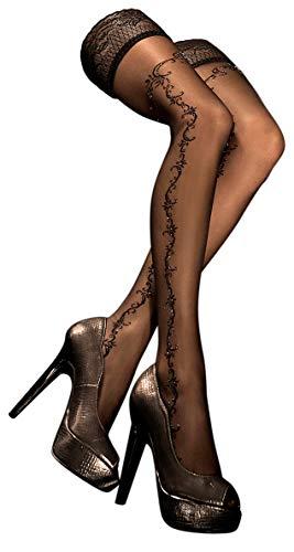 Unbekannt Ballerina Halterlose Damen-Strümpfe, schwarz, mit Muster, Strapsoptik Größe Small/Medium
