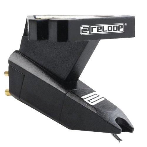 Reloop ideal zum Scratchen, Unterdecksystem zur Headshell-Befestigung, Nadelschliff sphärisch, hervorragenden Klang, Schwarz, AMS-OM