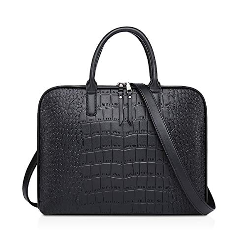 NICOLE & DORIS Laptop Handtasche Damen Aktentasche 13-14 inch Laptop Umhängetasche Shopper Mann Business Tasche PU Leder Arbeitstasche Schultertasche Schwarz