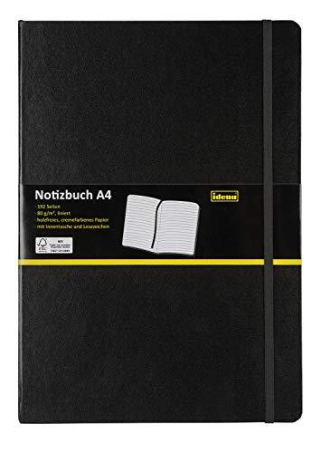 Idena 209292 - Notizbuch DIN A4, liniert, Papier cremefarben, 192 Seiten, 80 g/m², Hardcover in schwarz, 1 Stück