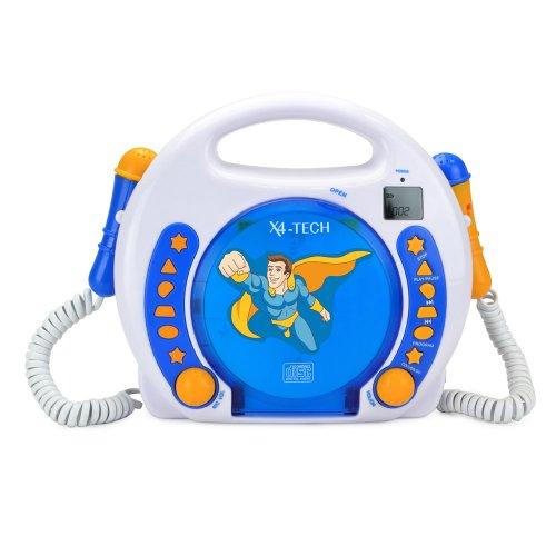 X4-TECH Bobby Joey - Kinder CD Player für USB-Stick, SD-Karte, MP3-CD - 2X Mikrofone Karaoke inkl. Sticker - blau