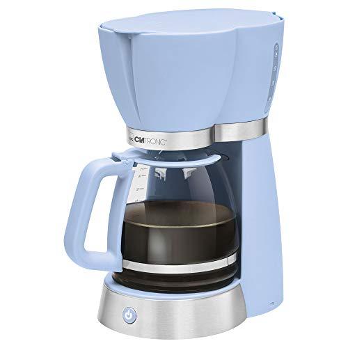 Clatronic KA 3689 Rock'n'Retro Filterkaffeemaschine für 15 Tassen, Glaskanne, Tropfstopp, Abschaltautomatik, 1000 W, Blau